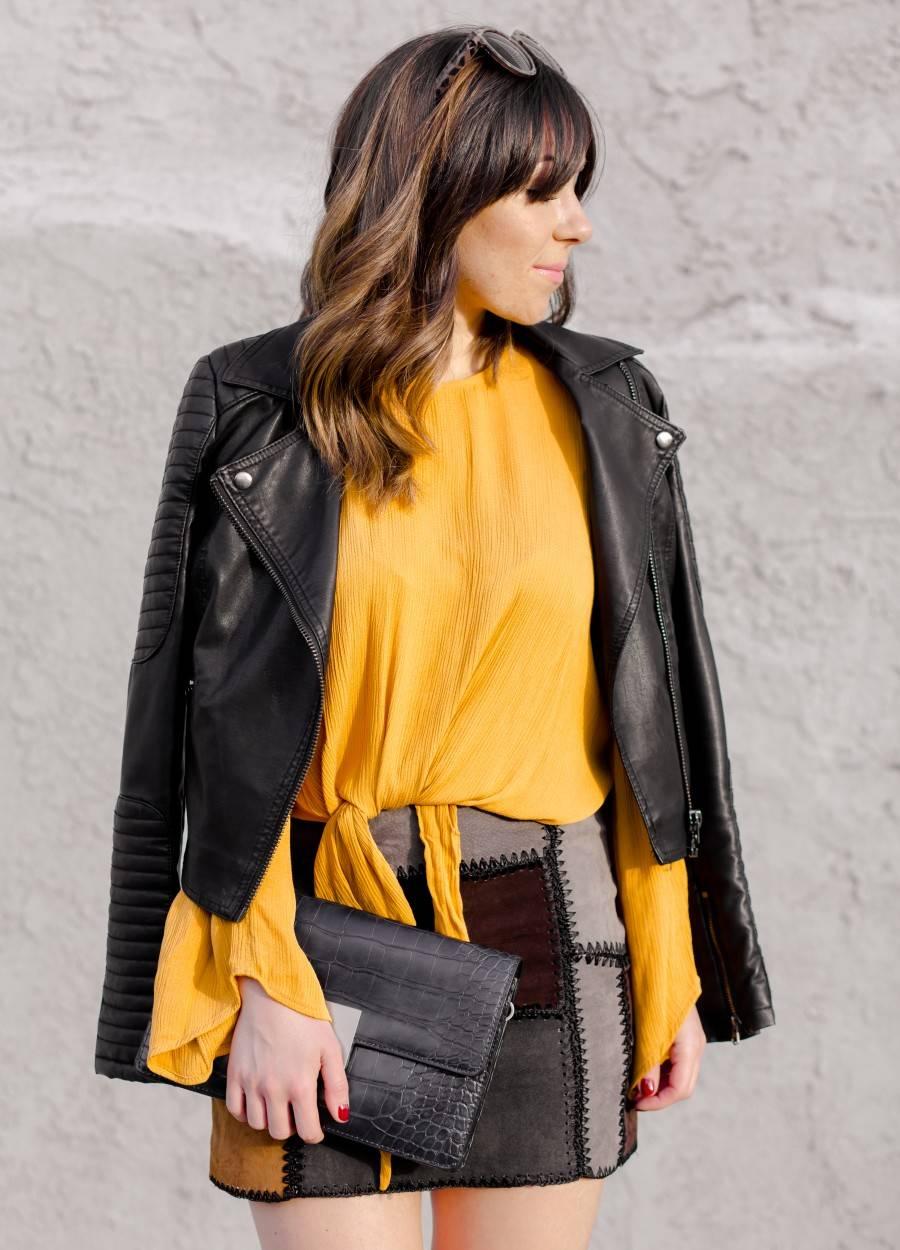 Zara leather patchwork skirt and Zara mustard top