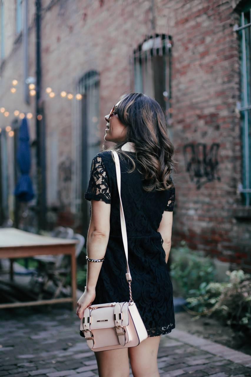 Zara black lace dress with peter pan collar