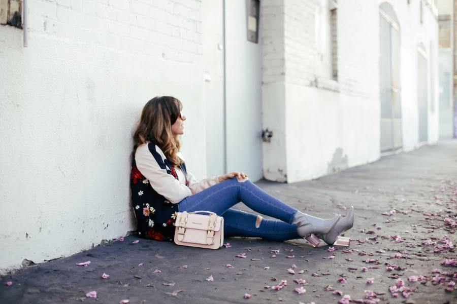 Topshop Jamie jeans and Zara floral bomber jacket