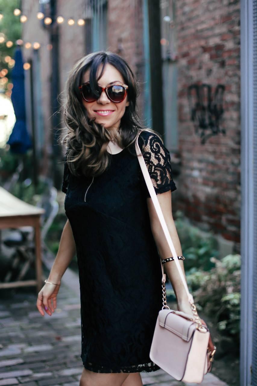 Zara black lace dress River Island purse
