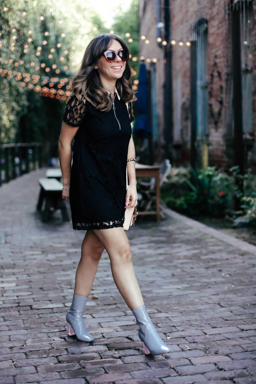 Style with Nihan in Arts District wearing little black lace dress