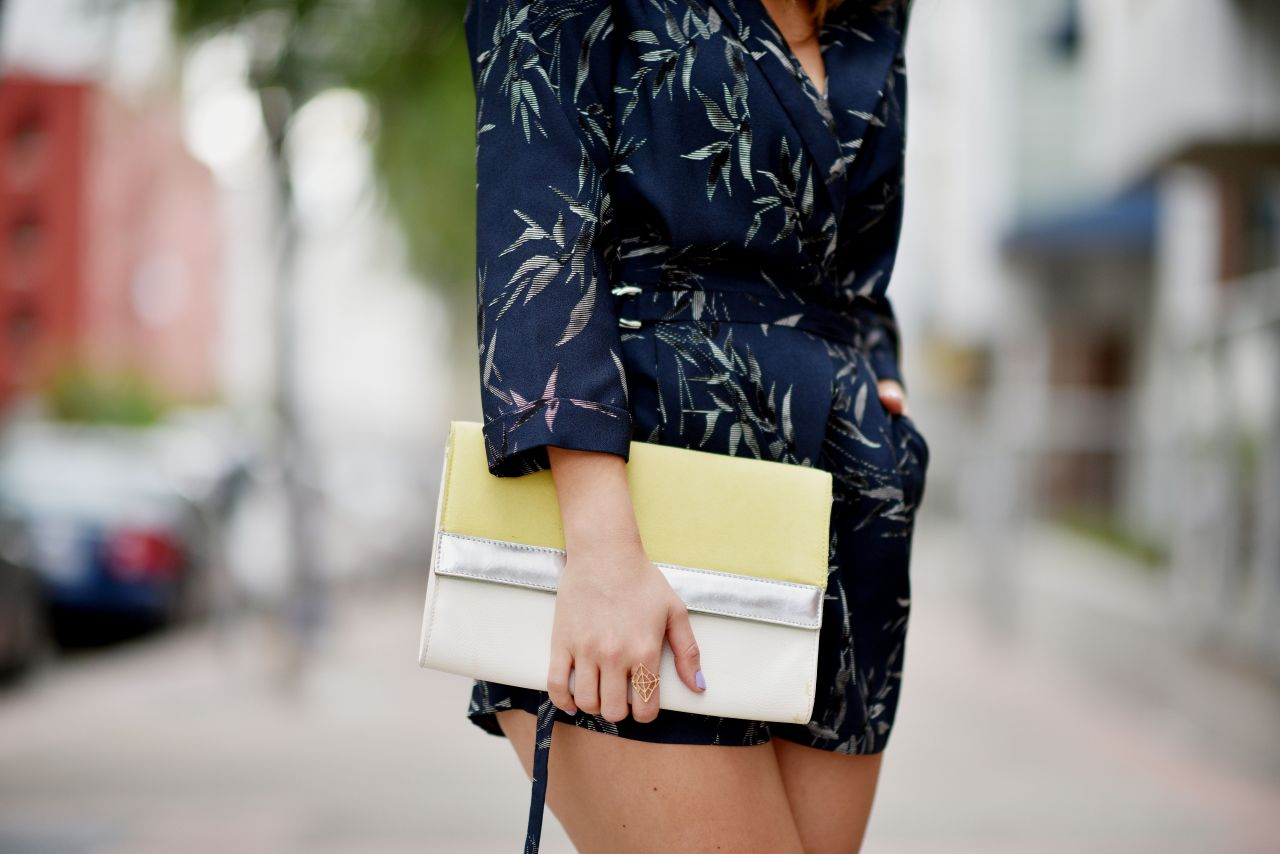 Colorblock clutch and front tie wrap romper