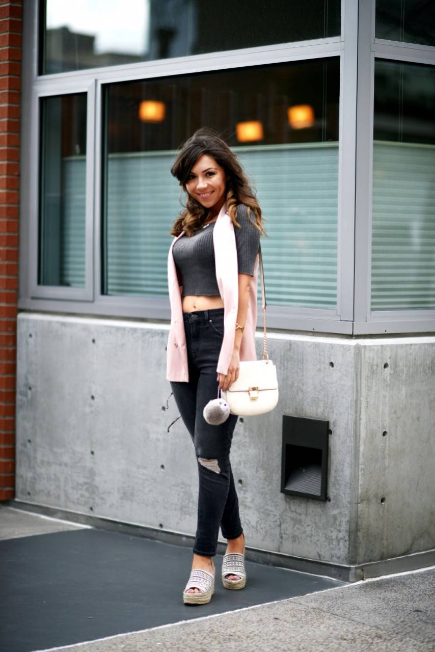 Topshop Blush Pink Blazer and Ripped Jeans