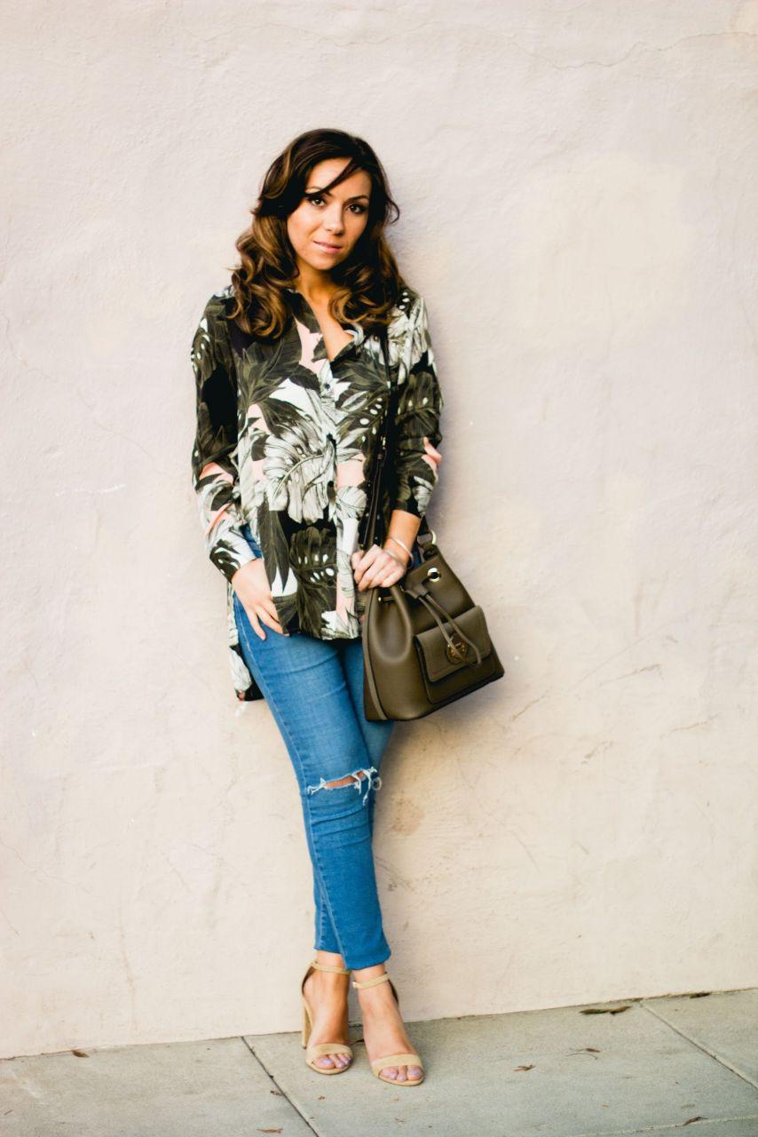 Topshop bucket bag and floral print oversize shirt