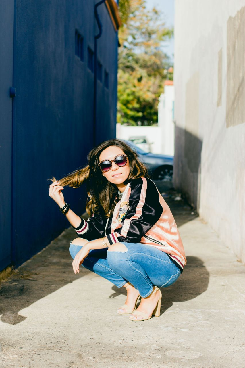 Japan print bomber jacket, Topshop ripped jeans and Steve Madden Carrson high heels