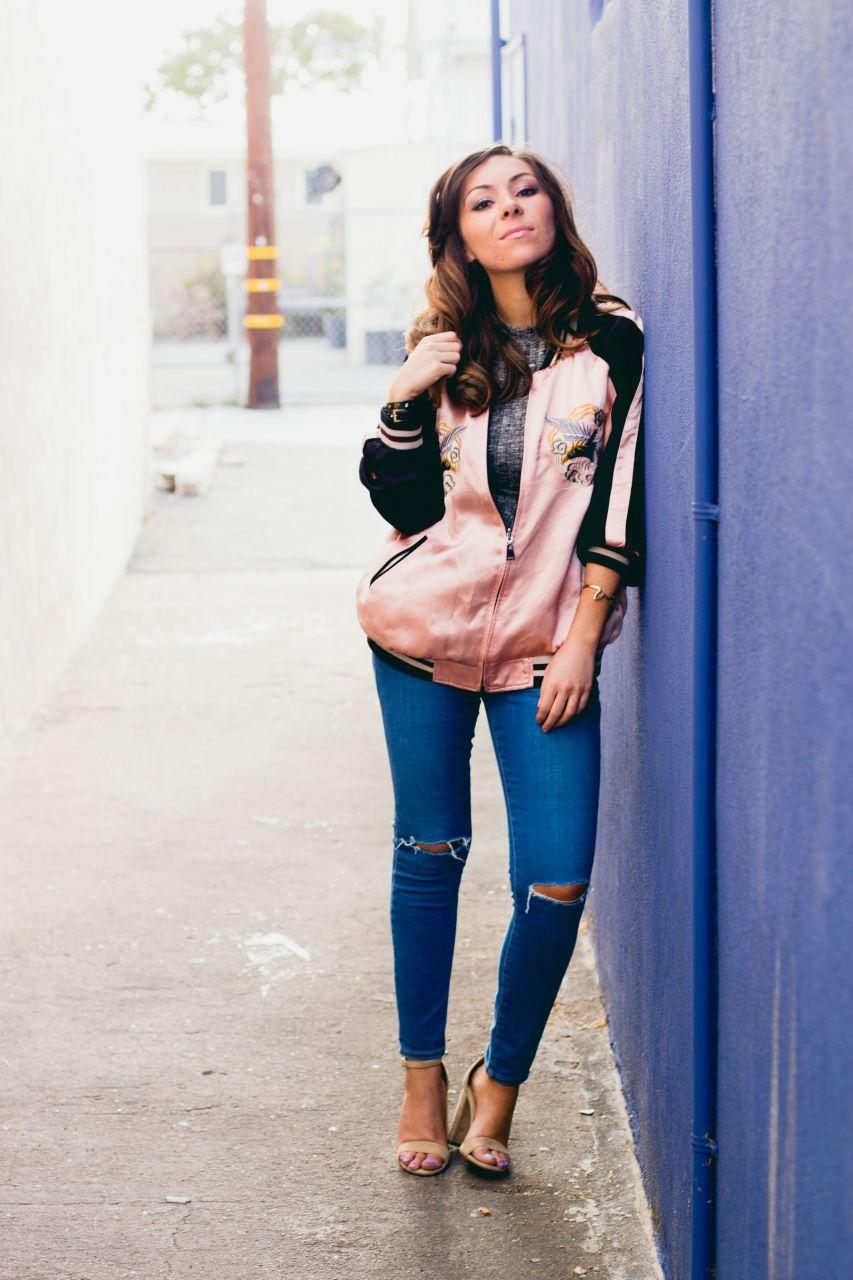 Topshop jeans and Japan print bomber jacket Zara