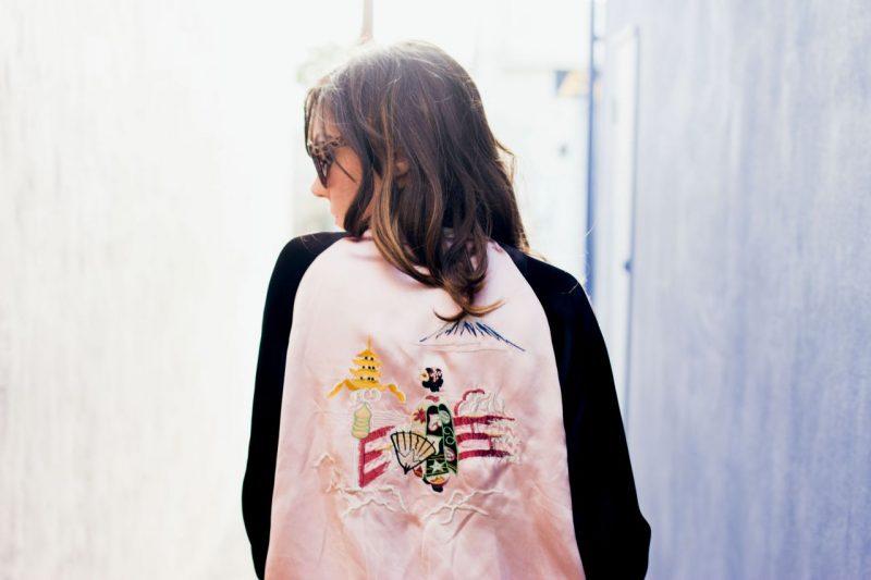 Japan print embroidery bomber jacket