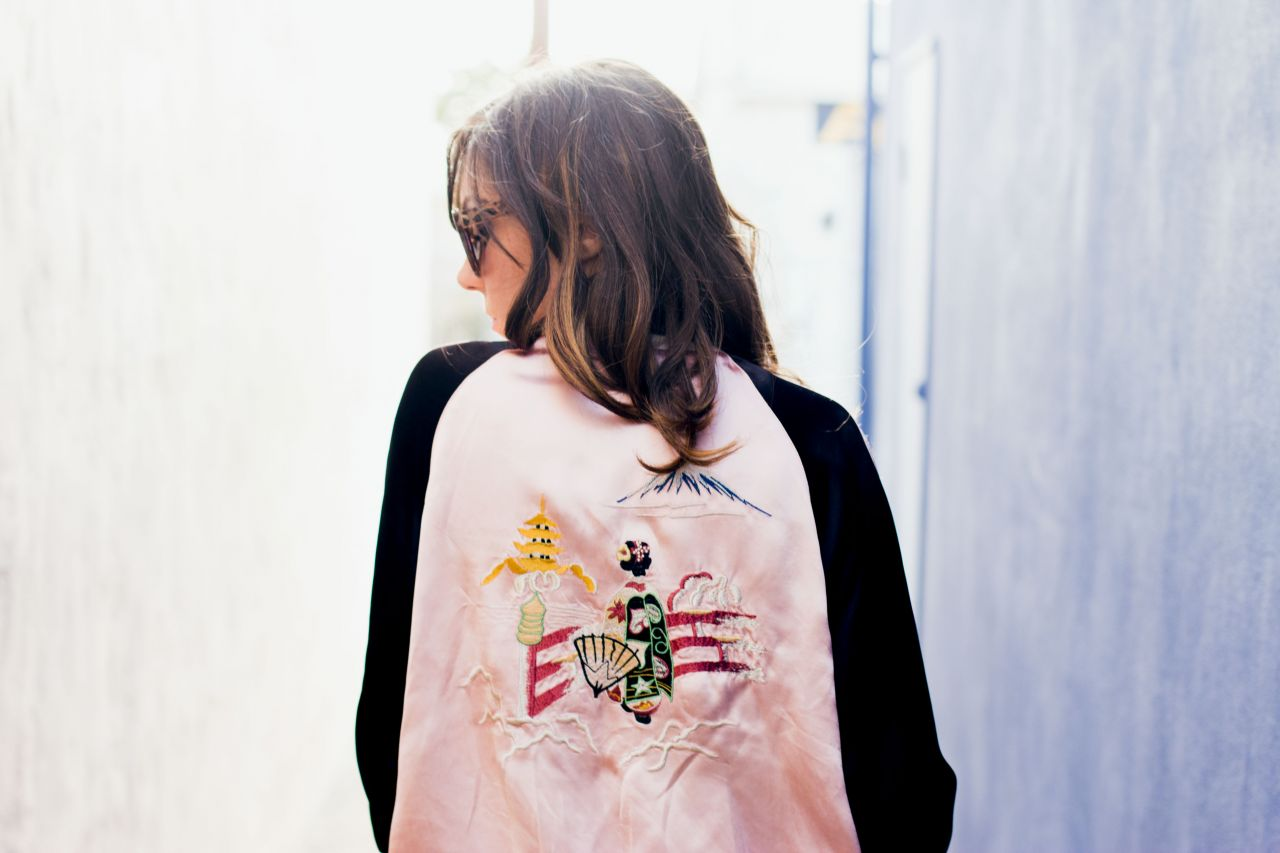 Japan print bomber jacket