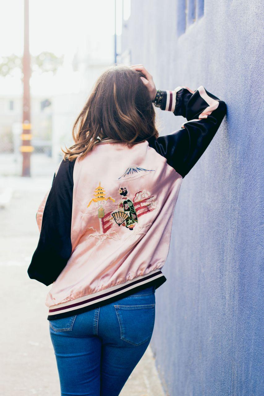 Japanese kimono print bomber jacket from Zara