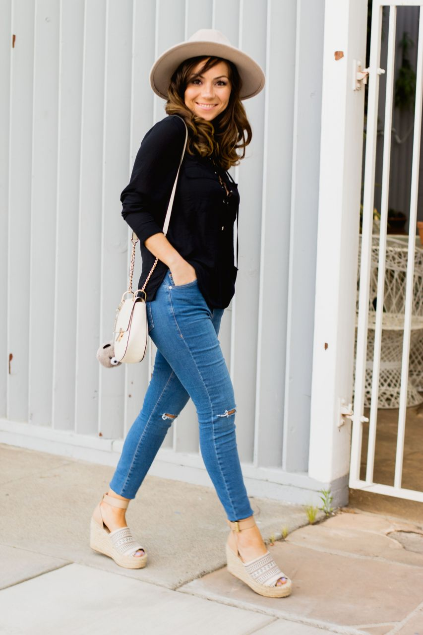 h&m lace up blouse and Marc Fisher espadrille wedges