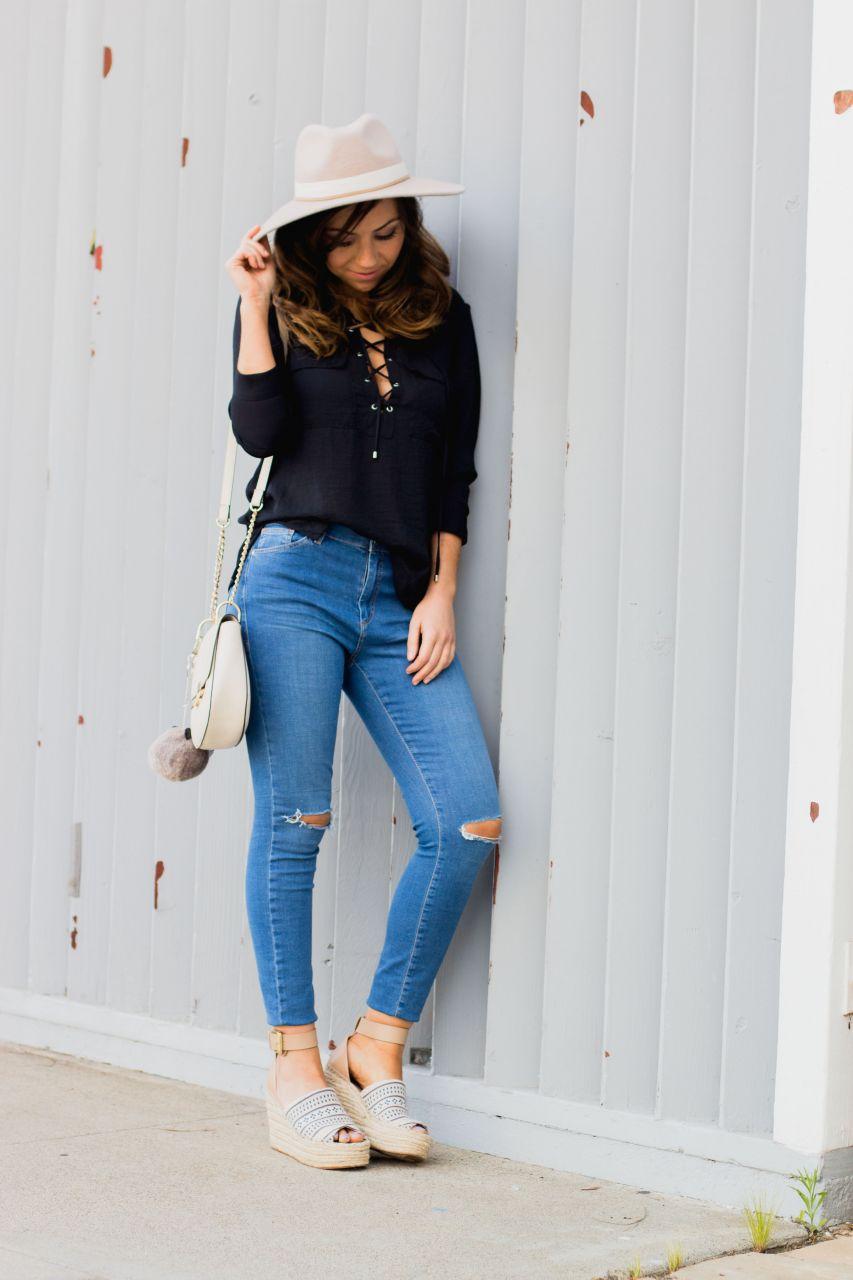 H&M lace up top blouse