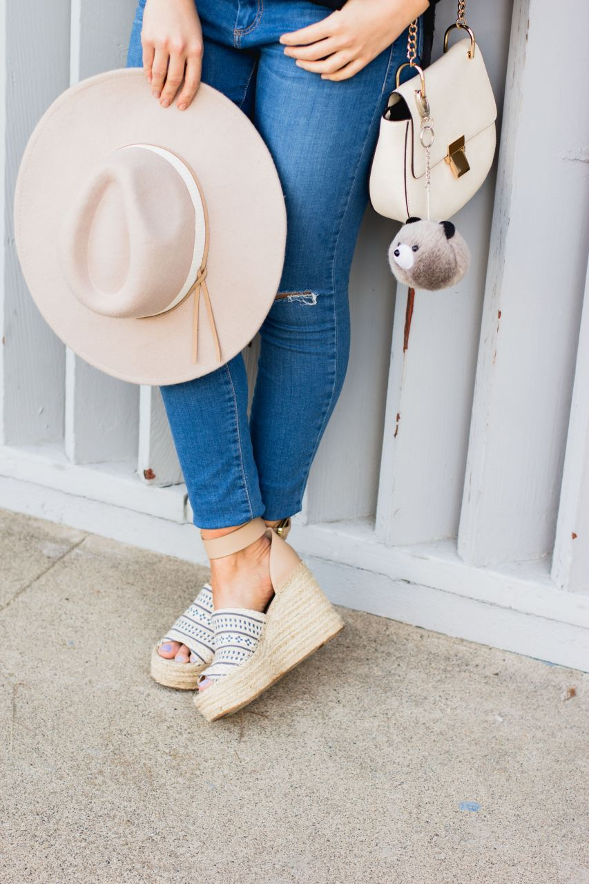 Forever 21 fedora hat and Marc Fisher espadrille wedges
