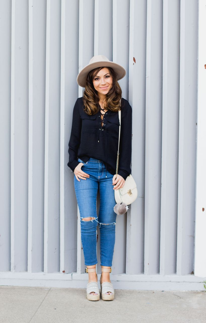 h&m lace up blouse and Forever 21 fedora hat
