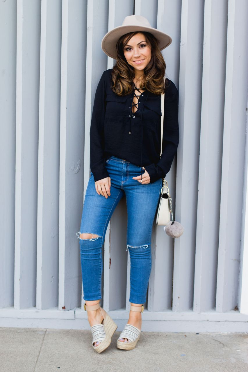 h&m lace up blouse with lacing
