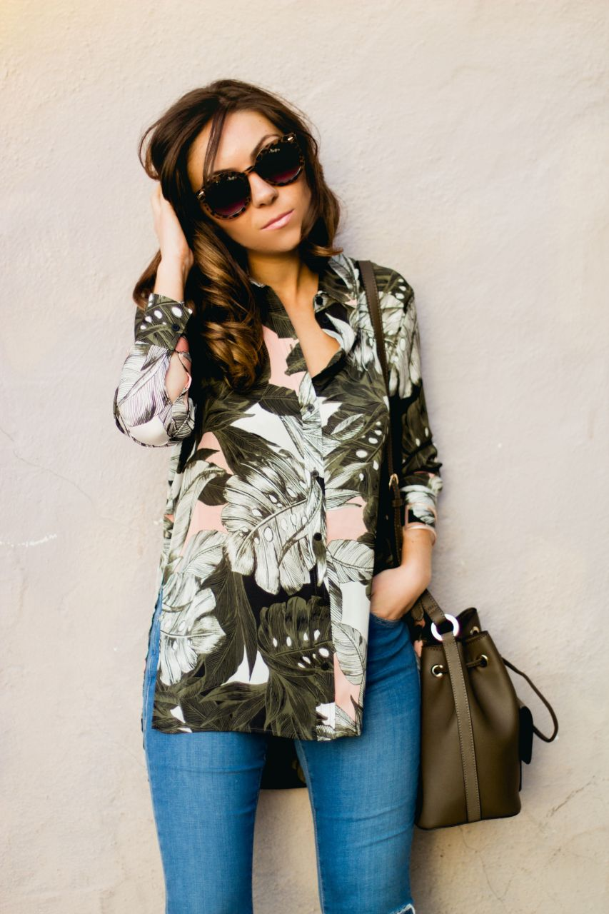 floral print oversize shirt Topshop