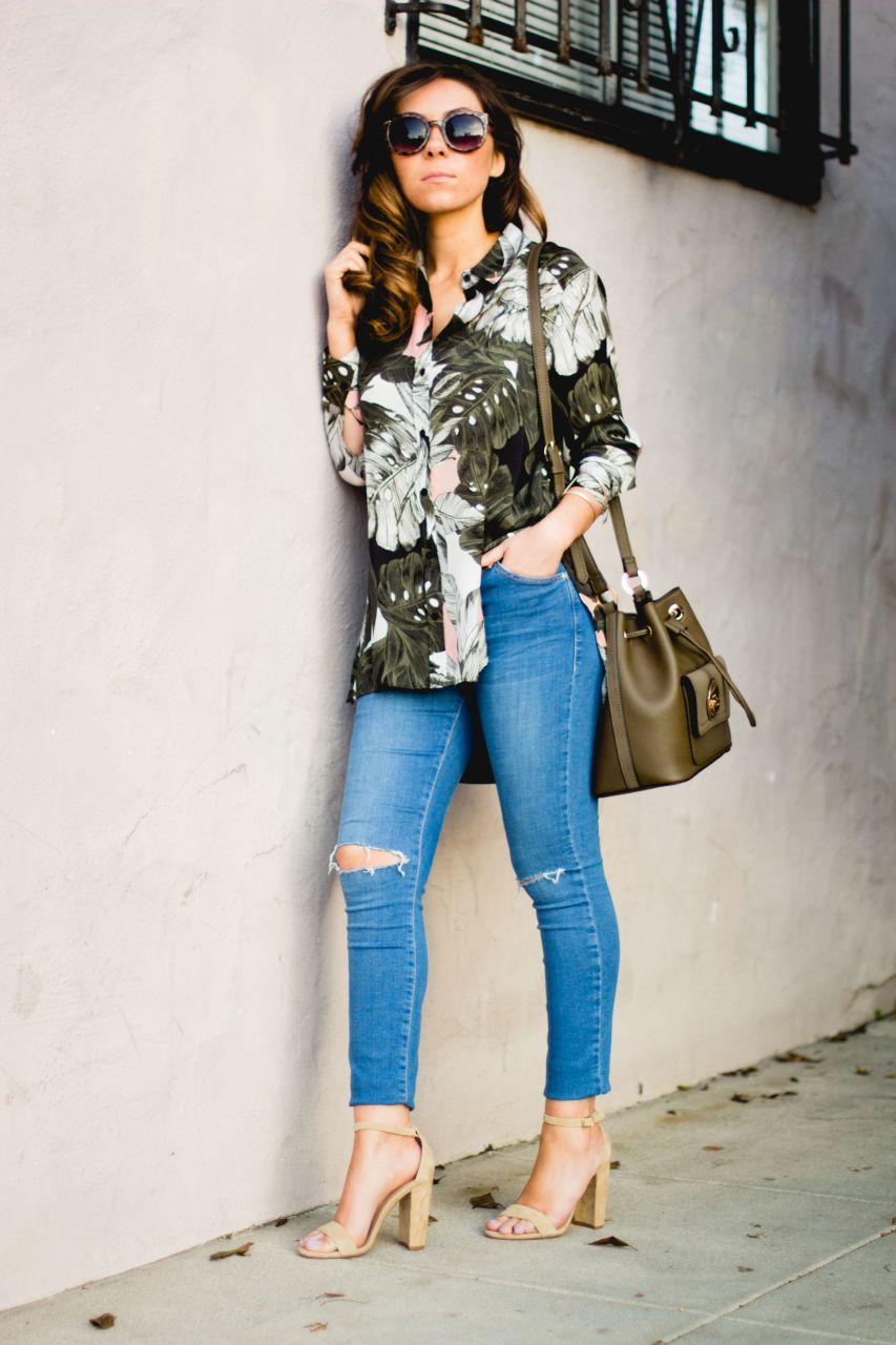 Topshop floral print oversize shirt and Topshop bucket bag