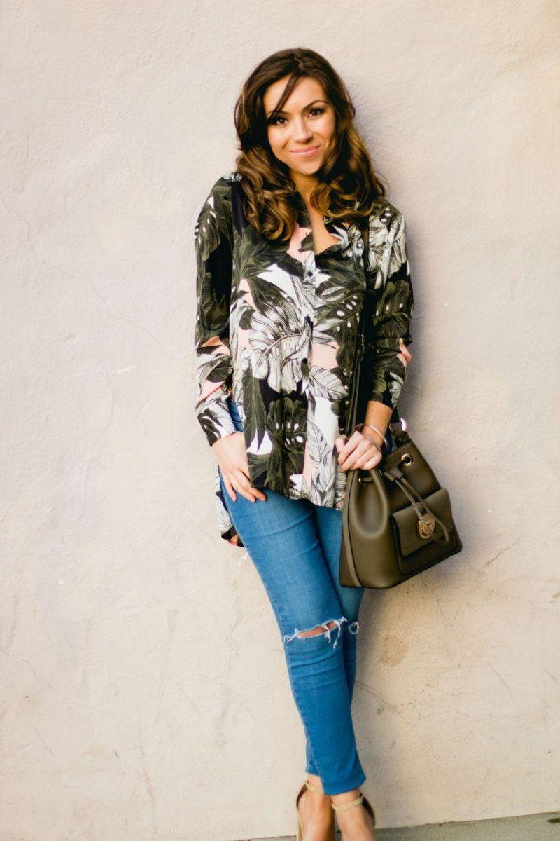 Topshop oversized palm print shirt and bucket bag