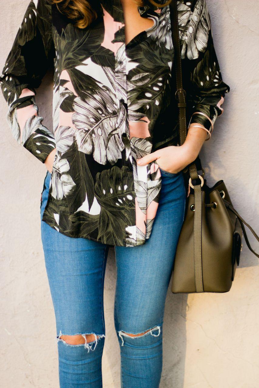 palm floral print oversize shirt