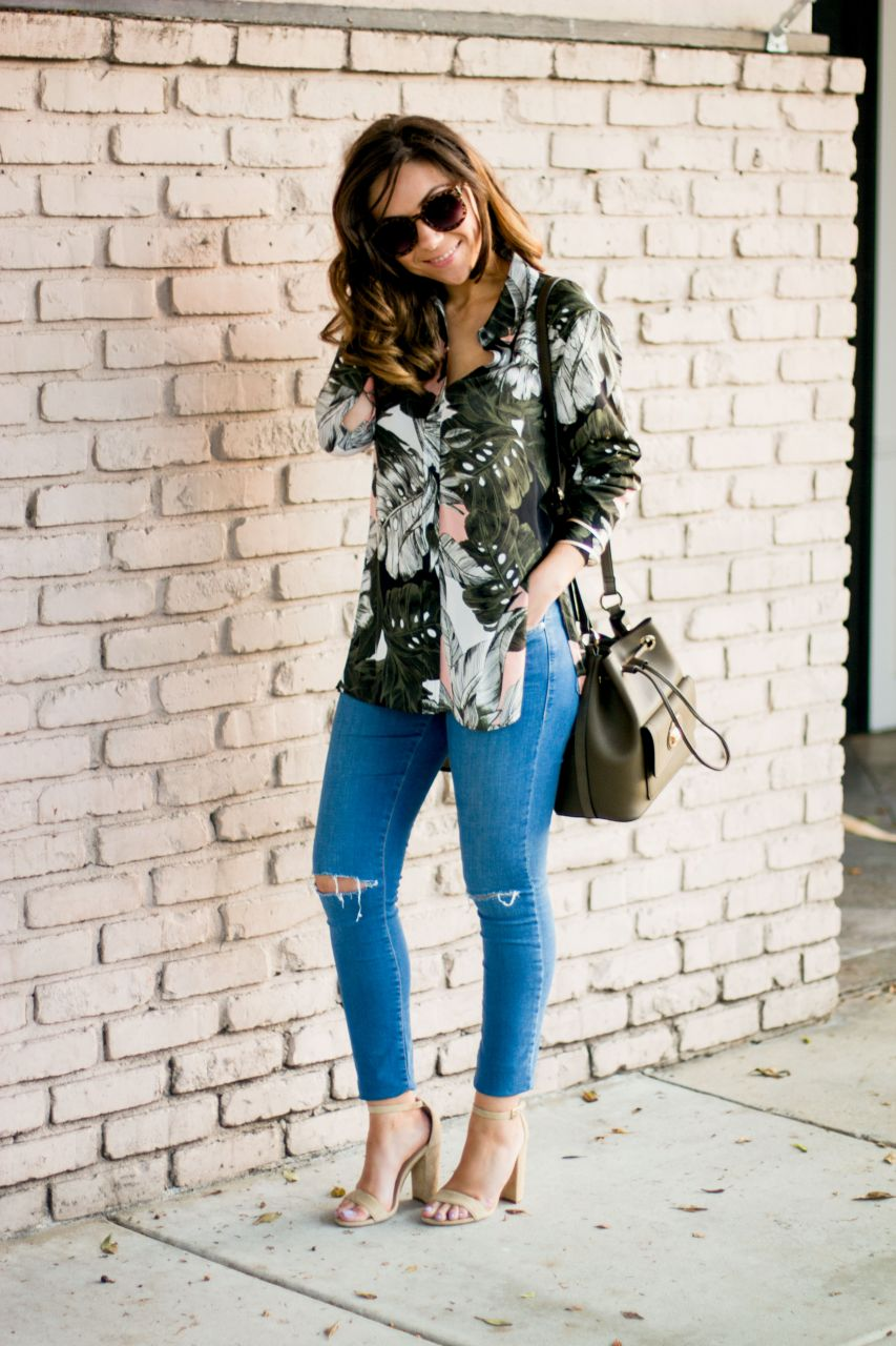 Los Angeles style blogger Oversized palm print shirt and bucket bag Topshop