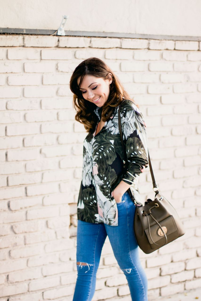 Topshop floral print oversize shirt and Jamie jeans