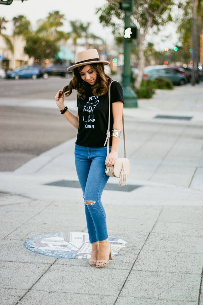 Urban Outfitters fedora hat and Forever 21 fringe bag - denim and nude
