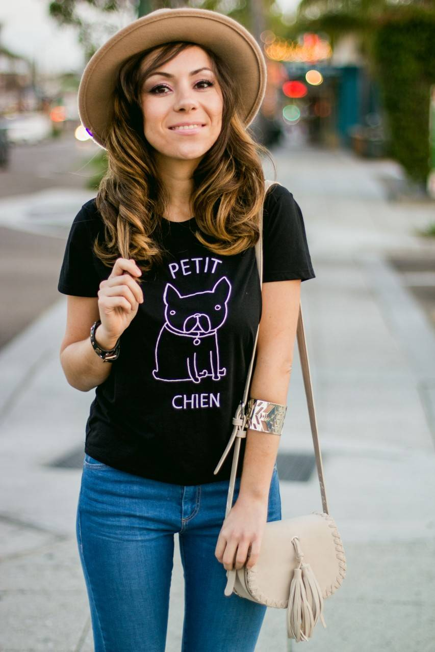 Topshop Petit Chen Frenchie T-shirt and leigh jeans - denim and nude