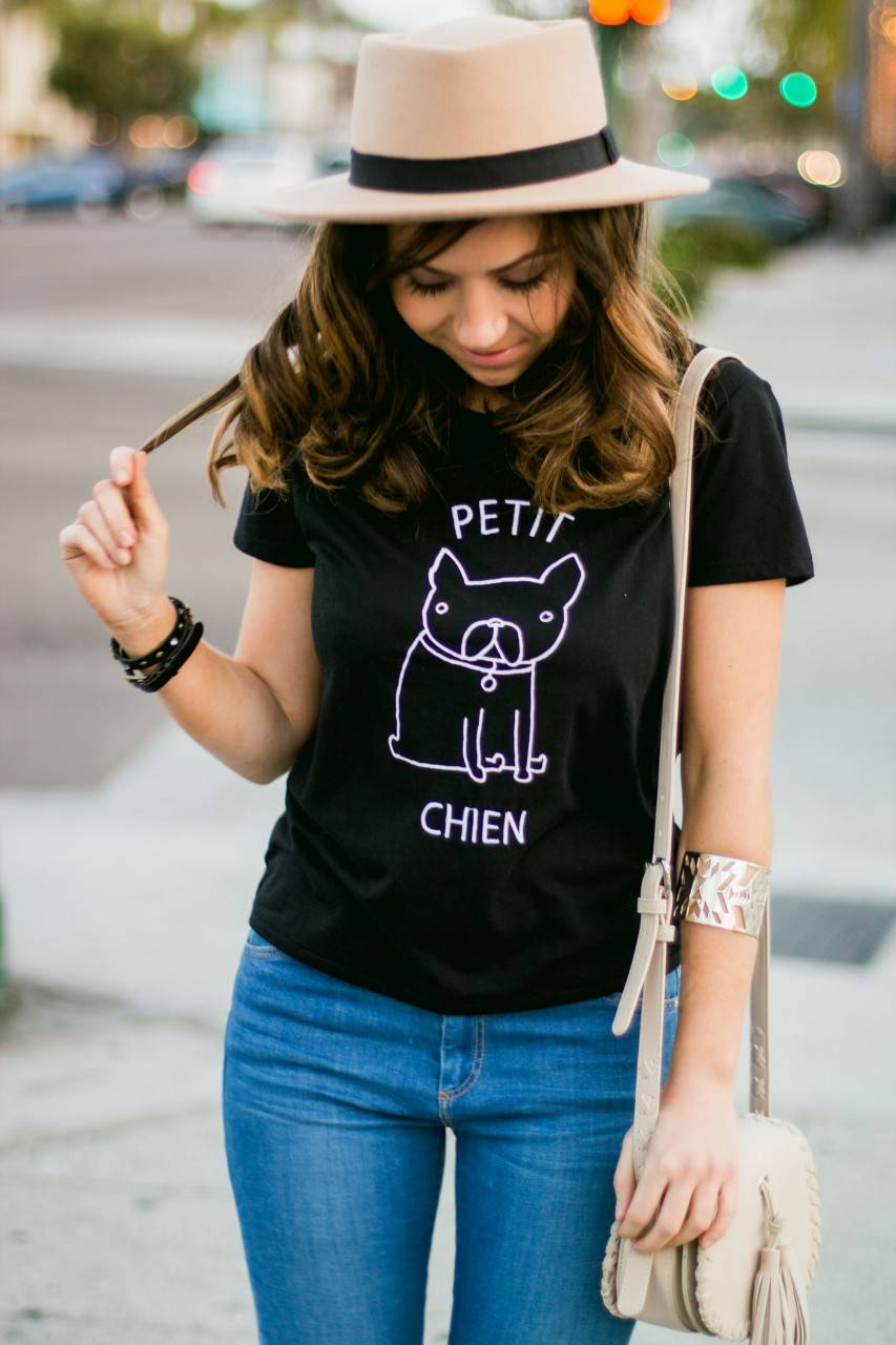 Topshop graphic tshirt petit chen - denim and nude