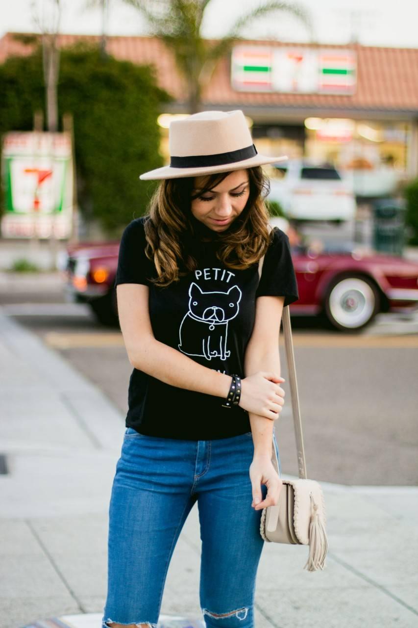 Style fashion blogger San Diego - denim and nude