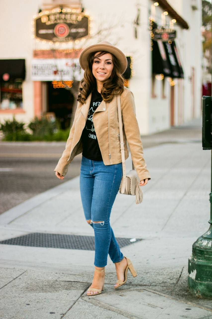 H&M Suede Biker Jacket and Topshop Leigh jeans