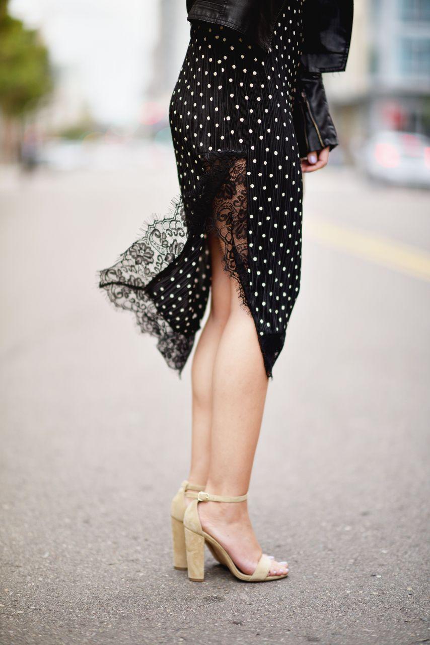 leg slit sexy lace trim dress and Steve Madden Carrson high heels