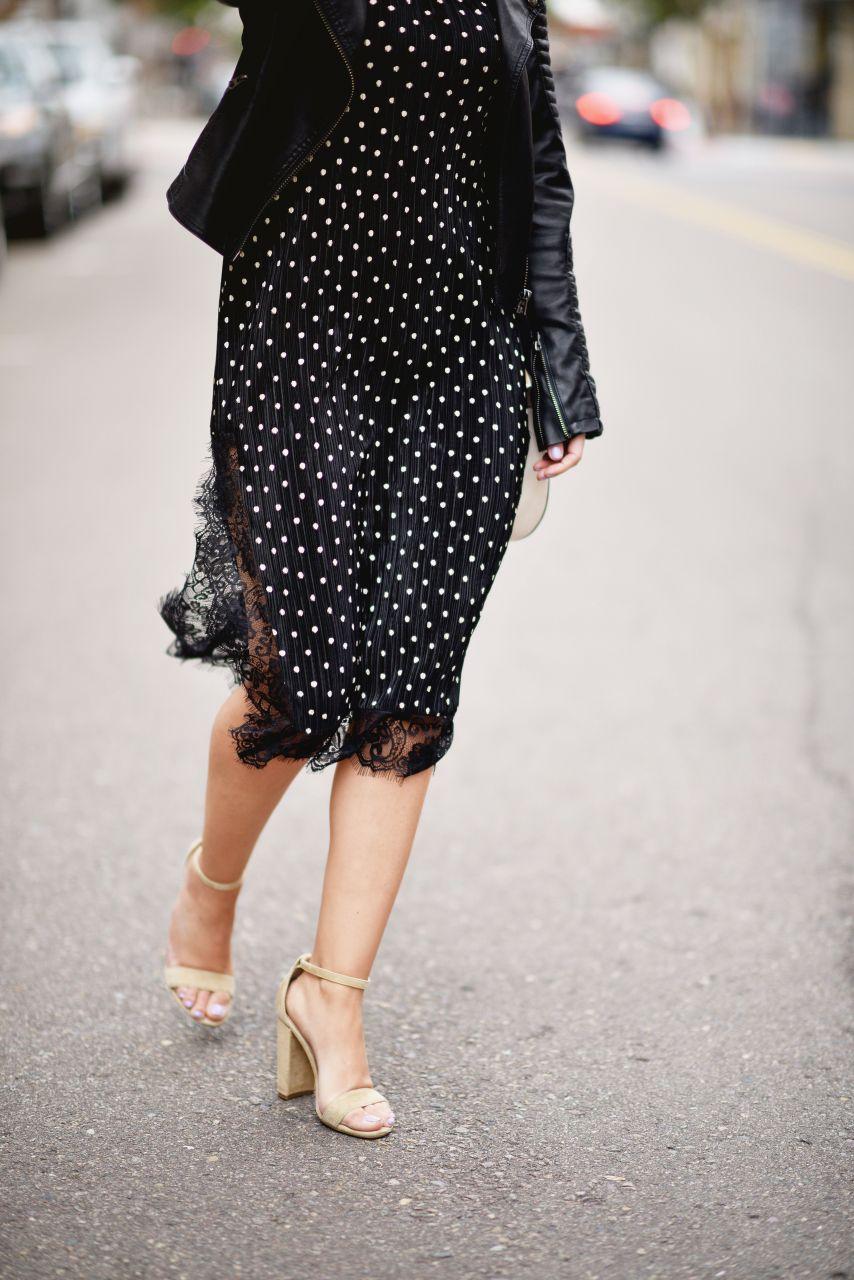 lace detail black midi polka dot dress