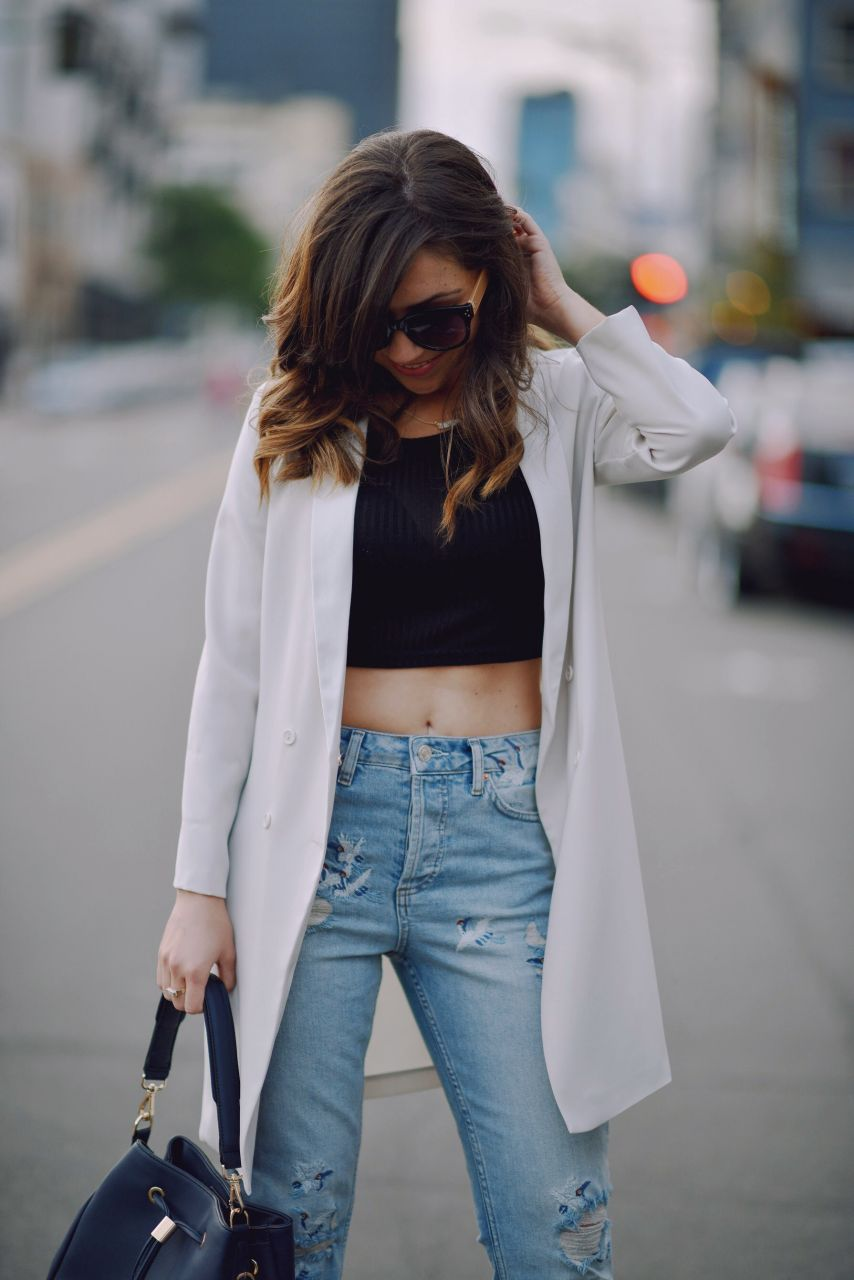 white longline blazer and Topshop jeans