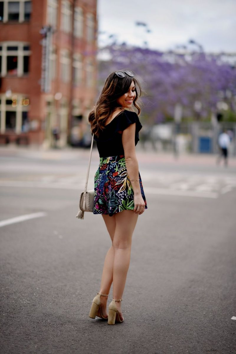 Topshop floral print shorts and off the shoulder top