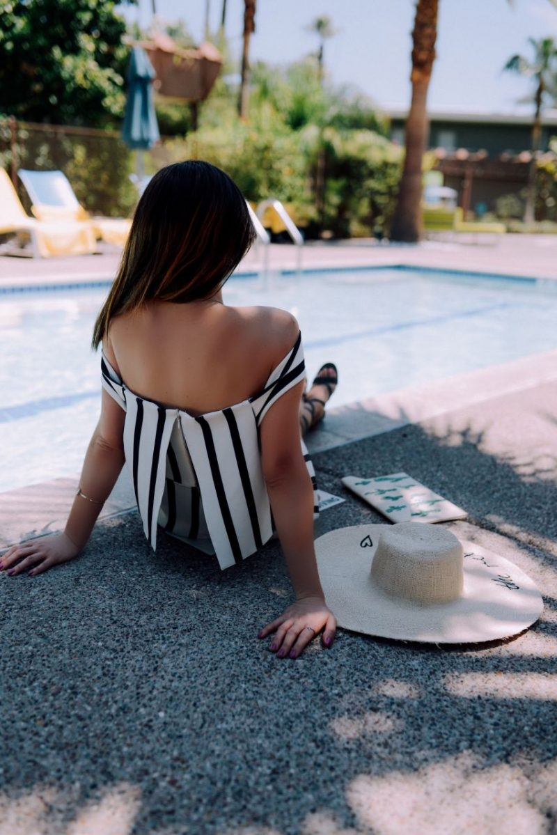 Style with Nihan at Hotel Valley Ho Scottsdale wearing Topshop striped romper and H&M straw floppy hat