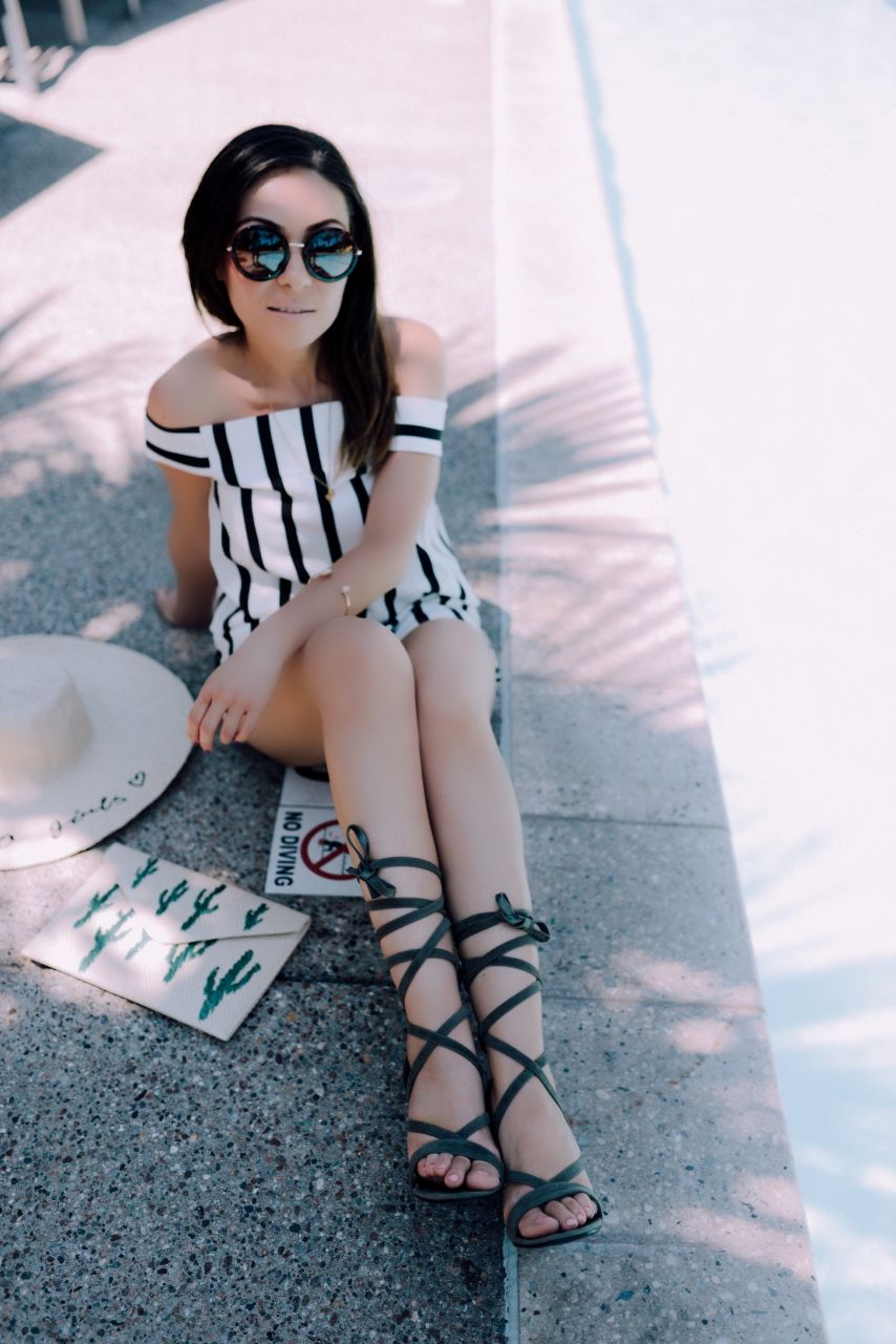 Style with Nihan at Hotel Valley Ho Scottsdale wearing Topshop striped romper and Public Desire Julia strappy heels