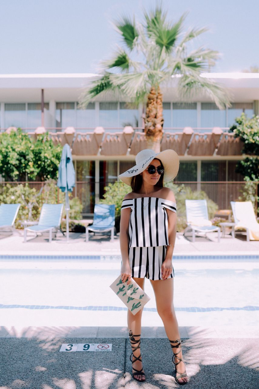 Style with Nihan at the Hotel Valley Ho Scottsdale pool wearing Topshop romper and Public Desire strappy heels