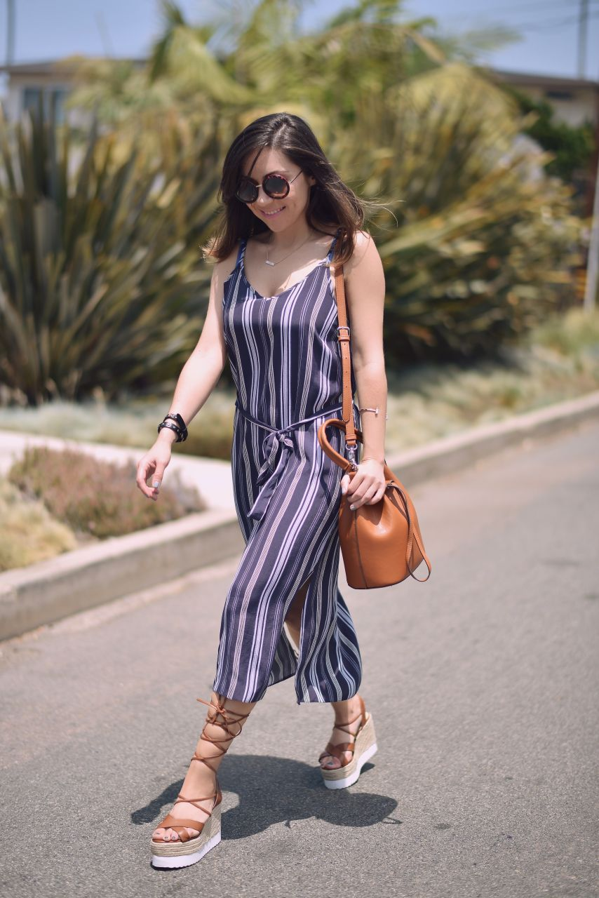 Forever 21 bucket bag and lace-up espadrilles