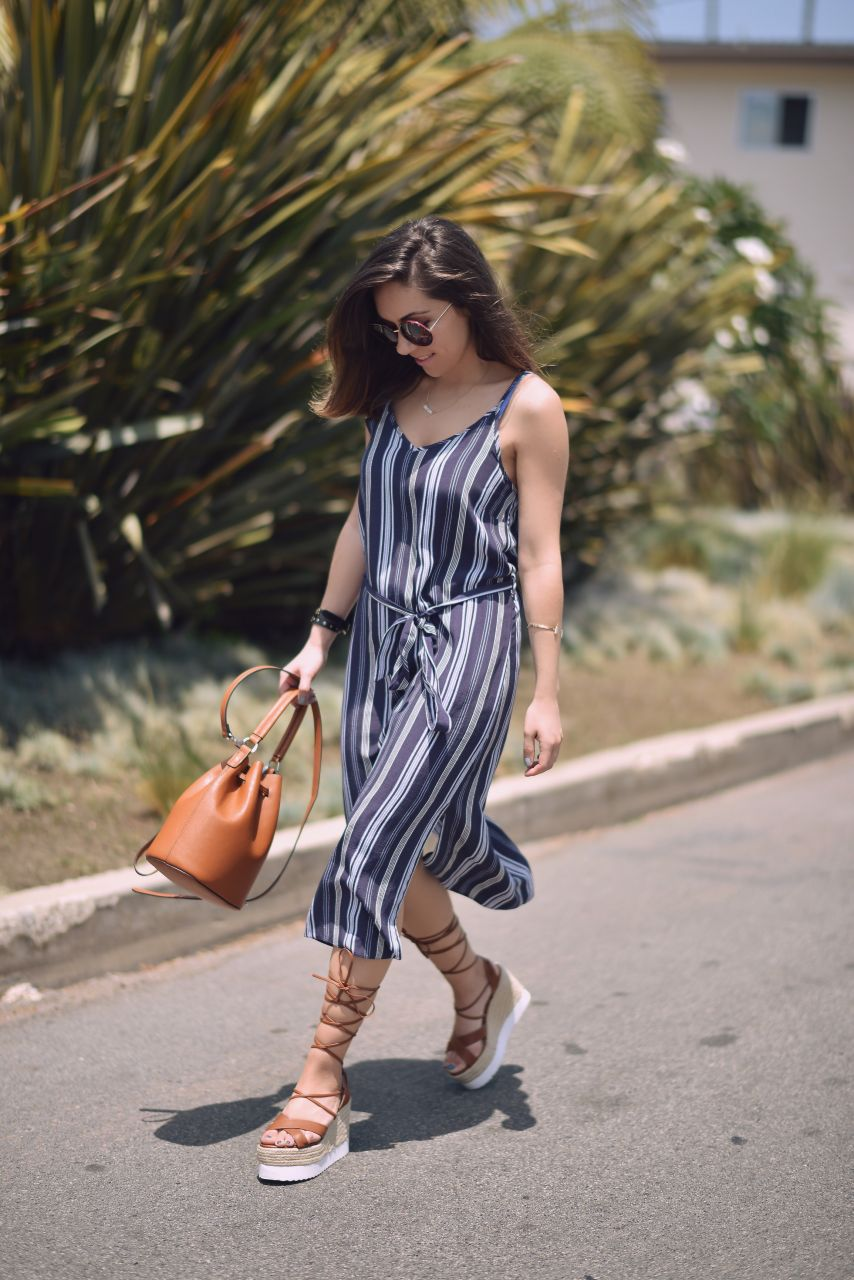 How to wear: Midi stripe dress and lace-up espadrille wedges