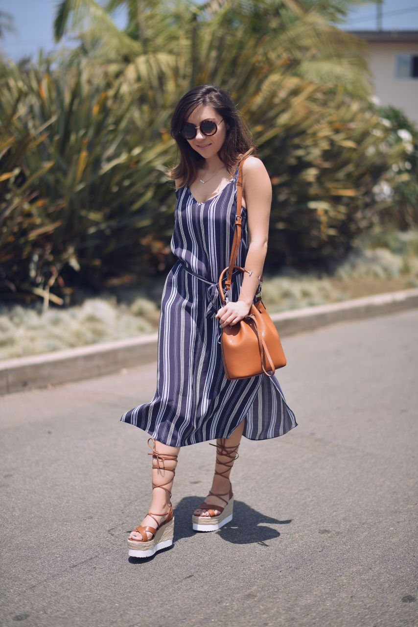 Espadrille wedges and midi length dress