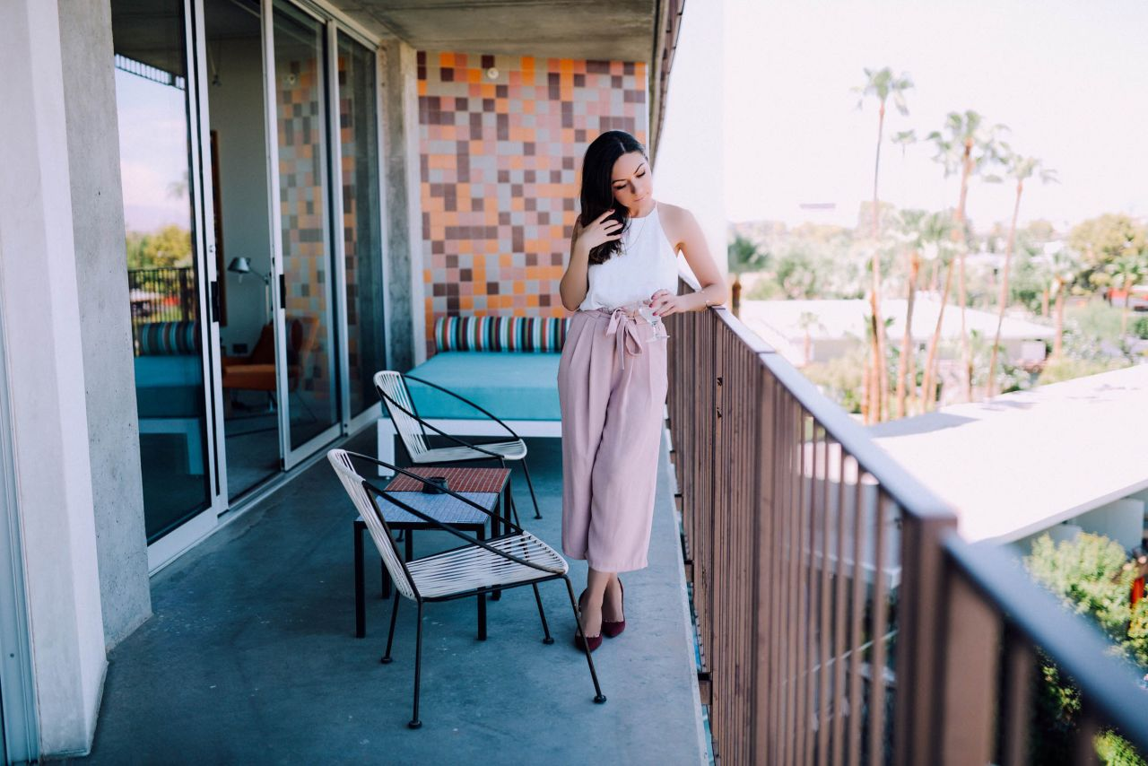 Pink Culottes for Holiday Parties
