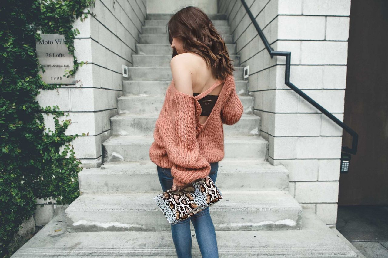 Style with Nihan wearing Glamarous open back sweater