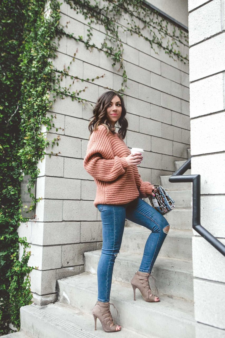 Style with Nihan wearing Topshop jeans and open back sweater