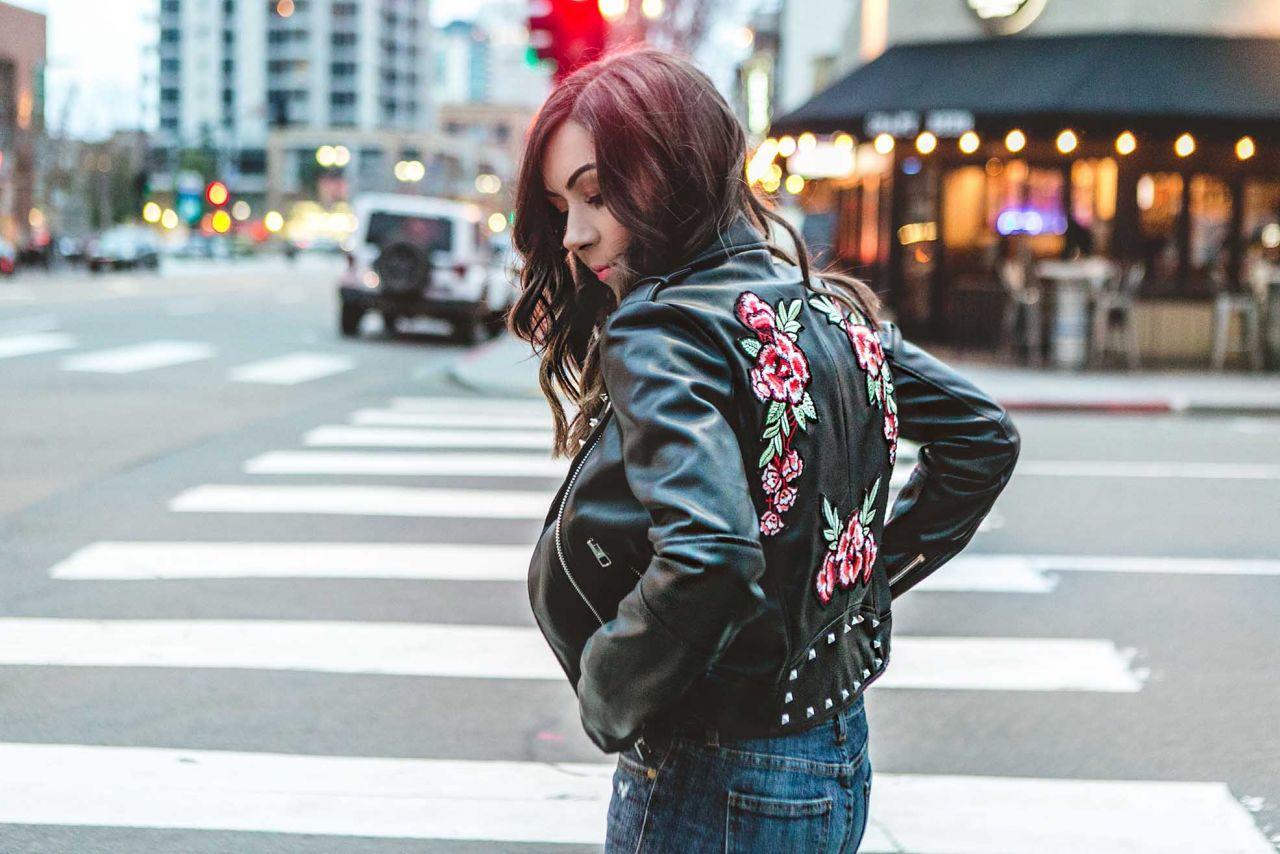 Edgy Florals: Floral & Studded Embroidered Leather Jacket