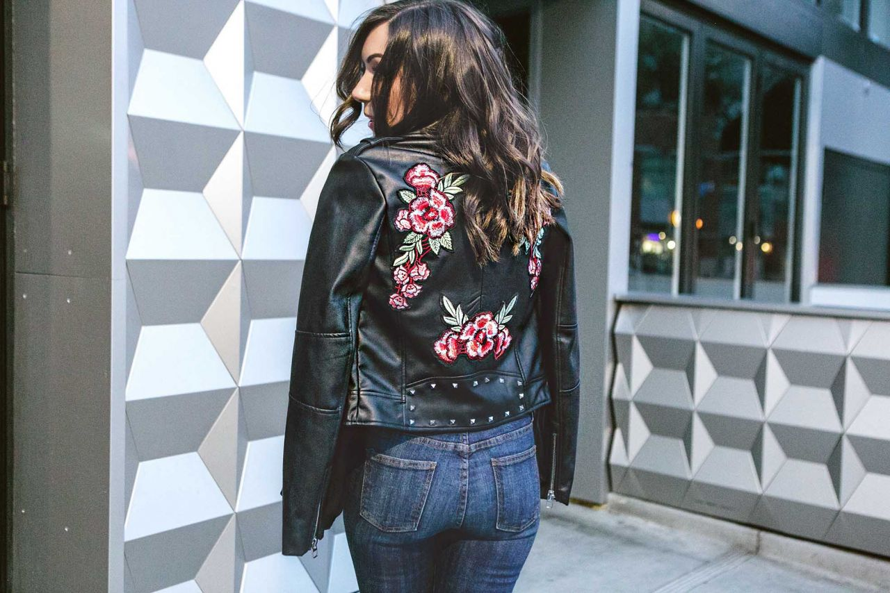 Style with Nihan wearing Floral embroidered and studded biker jacket and destroyed jeans