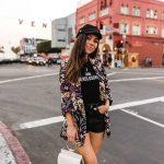 H&M denim shorts and cap in Venice Beach
