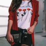 Casual Holiday Party Look Red blazer and Topshop black ripped denim