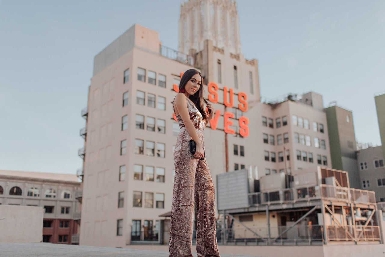 Perfect New Year's Party Look: How to Style a 70s Velvet Jumpsuit