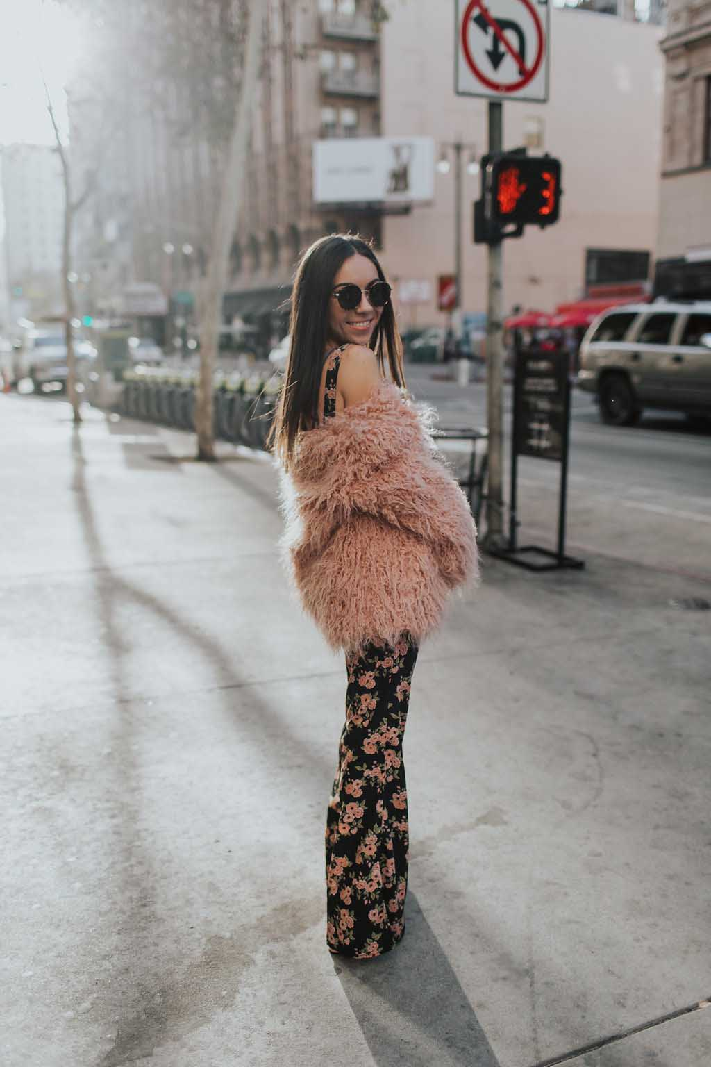 How to style a pink faux fur coat