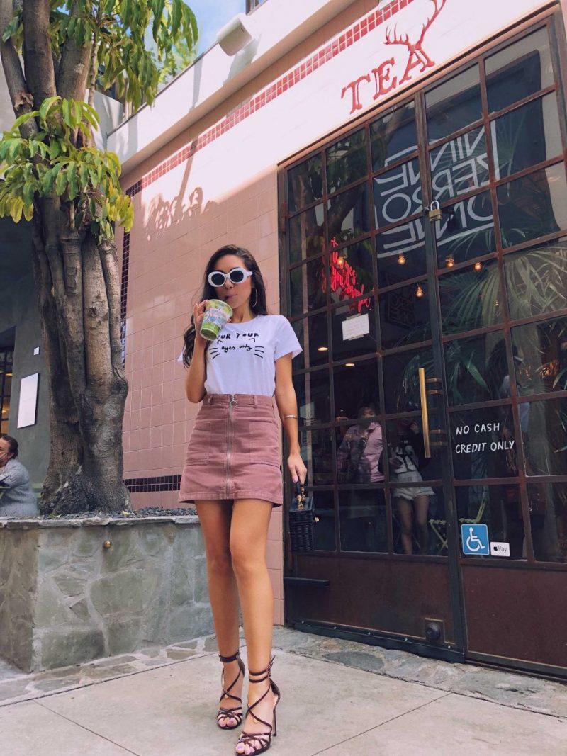 Wearing pink Topshop skirt at Matcha Latte at Alfred Tea West Hollywood