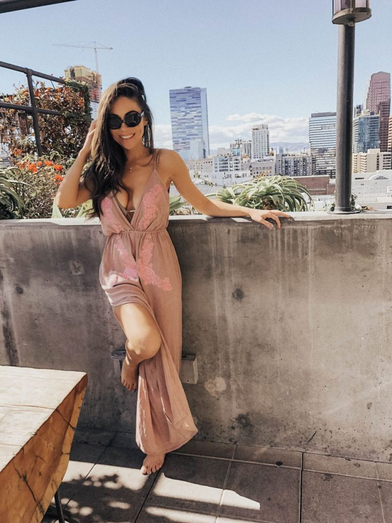 Style with Nihan wearing a beach cover-up at Ace Hotel DTLA
